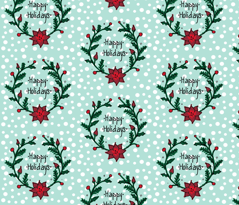 Happy Holidays Wreath fabric by beesweet on Spoonflower - custom fabric