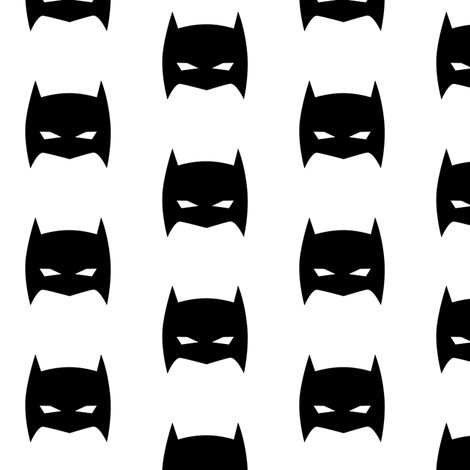 Superhero Bat Mask Black and White fabric by bub&cub on Spoonflower - custom fabric