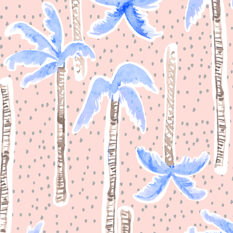 Tropicana Palms (blue/pink) fabric by nouveau_bohemian on Spoonflower - custom fabric