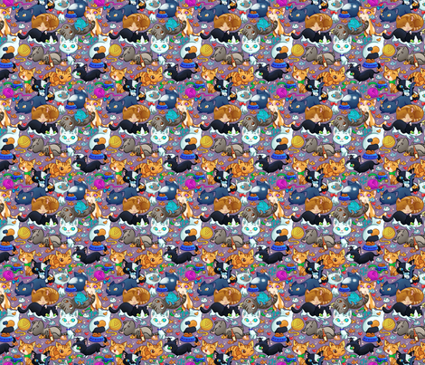 Cat Caboodle fabric by 3dvanity on Spoonflower - custom fabric