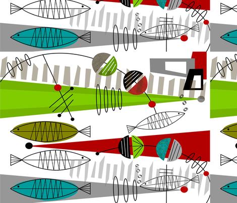 Mid-Century Modern Fish 1 fabric by hot4tees_bg@yahoo_com on Spoonflower - custom fabric