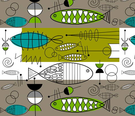 Mid-Century Modern Fish 3 fabric by hot4tees_bg@yahoo_com on Spoonflower - custom fabric