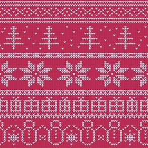 Fair Isle Xmas (white on red)