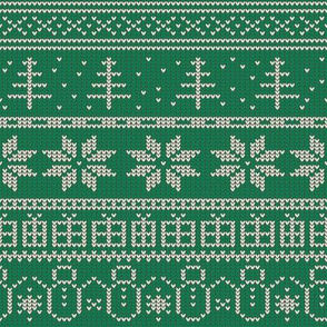 Fair Isle Xmas (white on green)