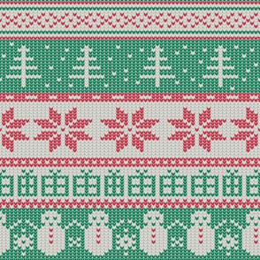 Fair Isle Xmas (red white and green)