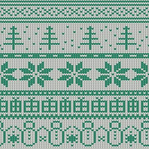 Fair Isle Xmas (green on white)