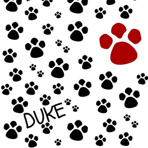 Paw Prints  LARGE - red black-personalized