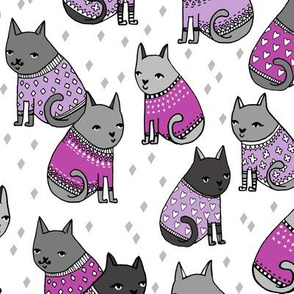 cats in sweaters // purple heart and love sweaters for sweet little girly prints and cat lady valentines day design