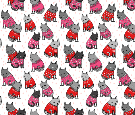 cats in sweaters // pink and red hearts and valentines love sweaters in repeating print for little girls and cat ladies fabric by andrea_lauren on Spoonflower - custom fabric