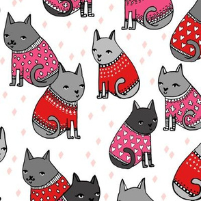 cats in sweaters // pink and red hearts and valentines love sweaters in repeating print for little girls and cat ladies