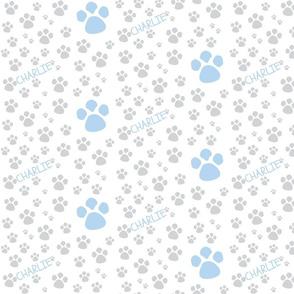 Paw Prints  SMALL - blue gray-P ERSONALZIED-ed