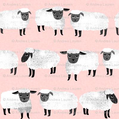 sheep // pastel pink sheep wool knitting farm animal