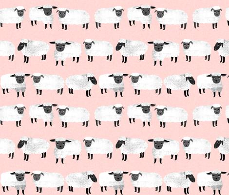 sheep // pastel pink sheep wool knitting farm animal fabric by andrea_lauren on Spoonflower - custom fabric