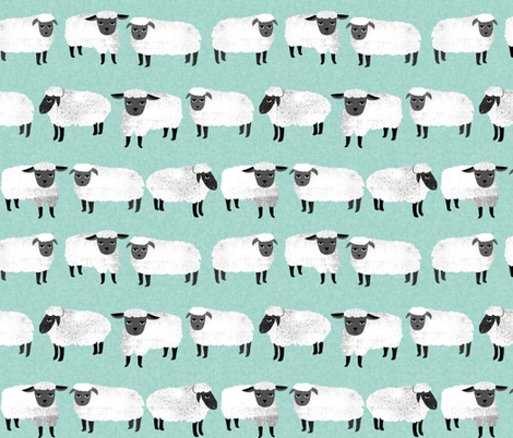 sleep // nursery pastel mint sheep farm animals fabric by andrea_lauren on Spoonflower - custom fabric