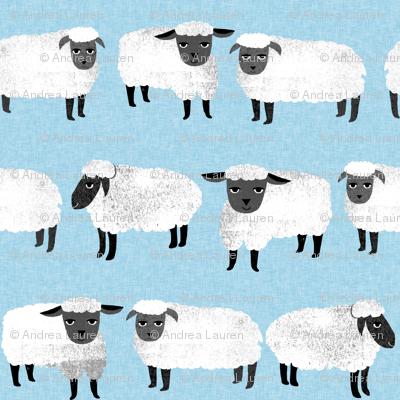 sheep // farm animal pastel blue kids knitting