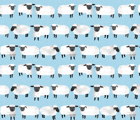 sheep // farm animal pastel blue kids knitting  fabric by andrea_lauren on Spoonflower - custom fabric