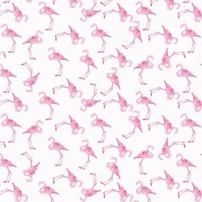 Watercolor Flamingo Pattern on White