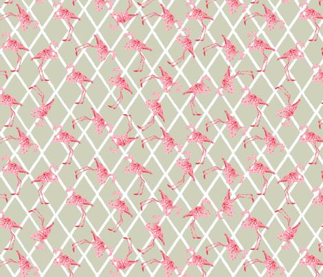 Pink Flamingos on Tan fabric by lauriekentdesigns on Spoonflower - custom fabric