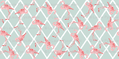 Pink Flamingos on Blue/Gray Hatched Background