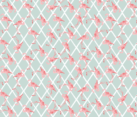 Pink Flamingos on Blue/Gray Hatched Background fabric by lauriekentdesigns on Spoonflower - custom fabric