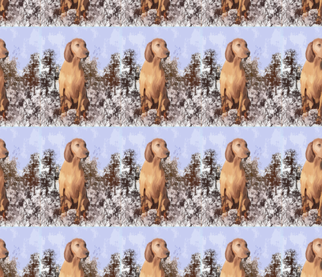 Redbone Coonhound in the weeds fabric by dogdaze_ on Spoonflower - custom fabric