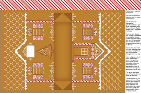 gingerbread house gift bag fabric by analinea on Spoonflower - custom fabric
