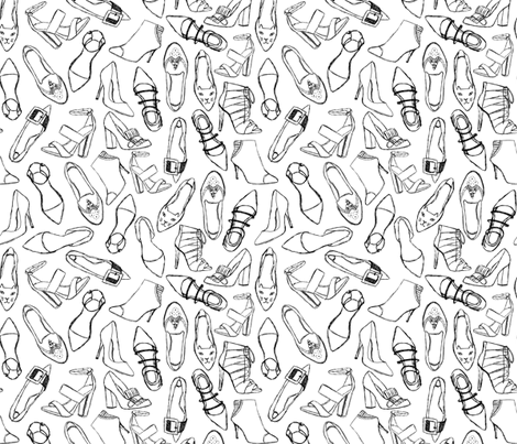 shoes // black and white fashion shoes beauty girls cute illustration fabric by andrea_lauren on Spoonflower - custom fabric