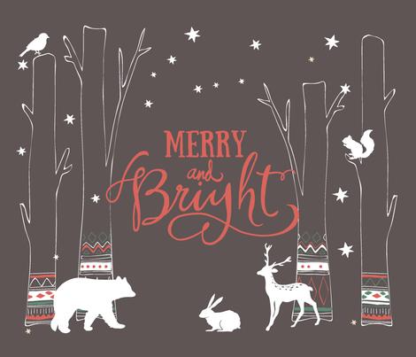 Woodland Animals Holiday Print fabric by alchemyhome on Spoonflower - custom fabric