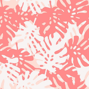 Tropical Leaves in Coral & White on Pink