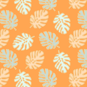 Orange and blue Tropical Leaves