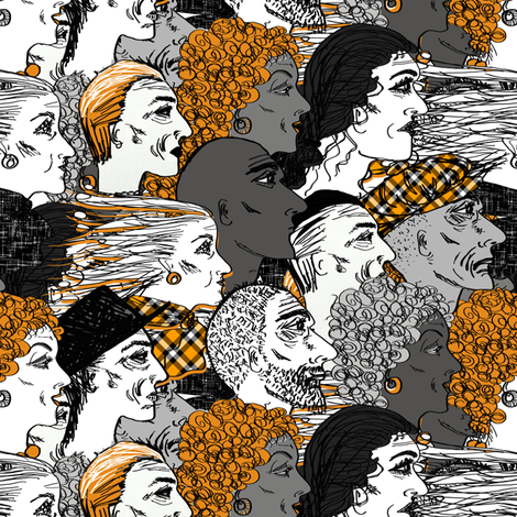 Faces at the Autumn Races by Su_G fabric by su_g on Spoonflower - custom fabric