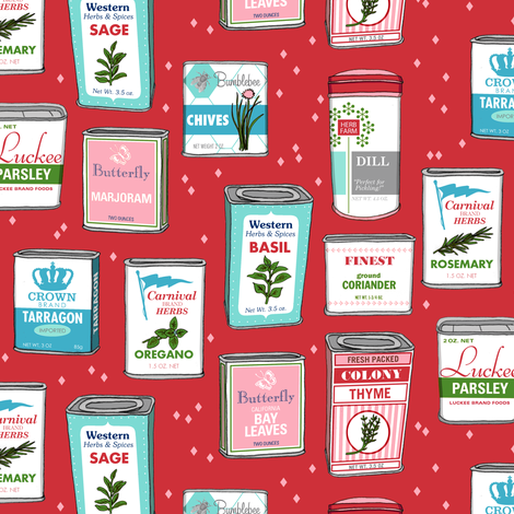Spice Rack (Red) || herb food kitchen packaging tins typography leaves diamonds illustration vintage retro Christmas holiday fabric by pennycandy on Spoonflower - custom fabric