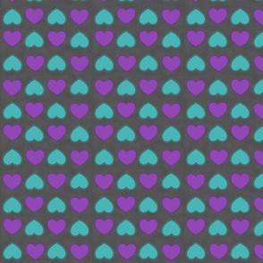 teal & purple hearts
