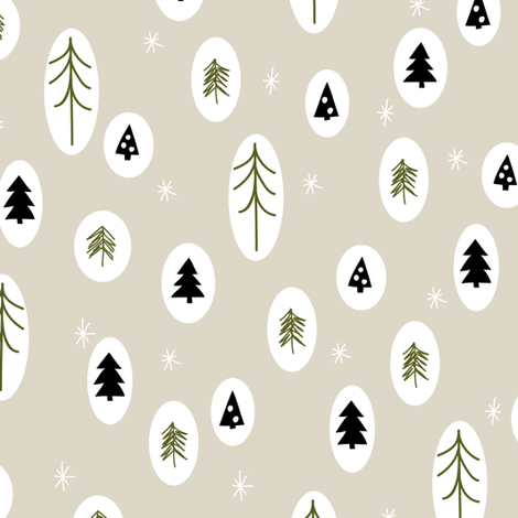 Little trees tan fabric by mintpeony on Spoonflower - custom fabric