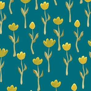 Up North floral flowers in dark teal