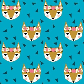 fox flowers crowns teal
