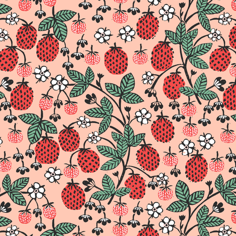 strawberry garden // strawberries blush pink fruits fruit summer sweet fabric by andrea_lauren on Spoonflower - custom fabric