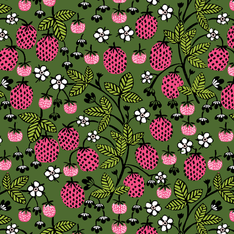 Strawberry strawberries pink and green summer fruits flowers strawberry strawberries pink and green summer fruits flowers block print andrea lauren fabric by mightylinksfo