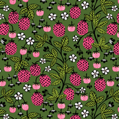 strawberry // strawberries pink and green summer fruits flowers block print andrea lauren
