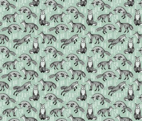 fox // mint woodland forest woods hand-drawn illustration cute nursery baby fox fabric by andrea_lauren on Spoonflower - custom fabric