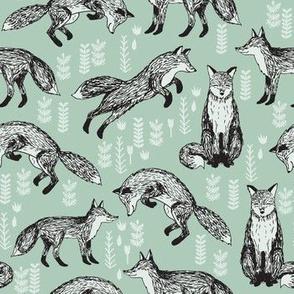 fox // mint woodland forest woods hand-drawn illustration cute nursery baby fox
