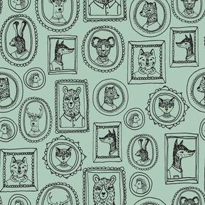 woodland portraits // bear fox bunny cute hand-drawn illustration mint nursery baby cute wallpaper