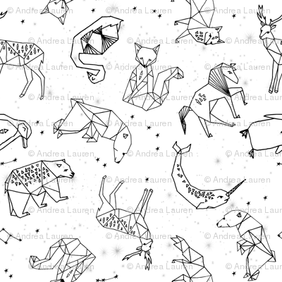 constellations // origami constellations geometric kids animals nursery baby stars