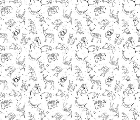 constellations // origami constellations geometric kids animals nursery baby stars fabric by andrea_lauren on Spoonflower - custom fabric