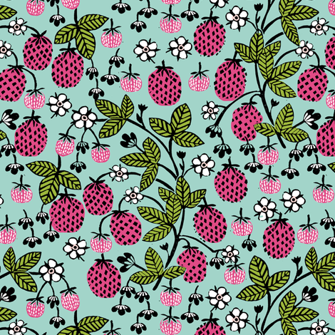 strawberry // strawberries sweet fruits fruit summer sweet pink and green mint sweet summer fruit fabric by andrea_lauren on Spoonflower - custom fabric