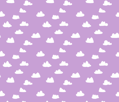 clouds // pastel purple clouds cute girls  fabric by andrea_lauren on Spoonflower - custom fabric