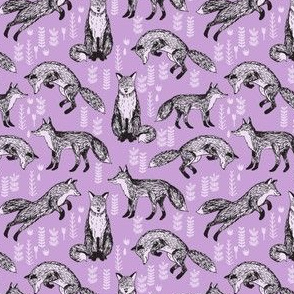 woodland fox // purple lilac pastel cute girly foxes tiny size