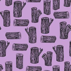 logs // tree logs lavender purple pastel