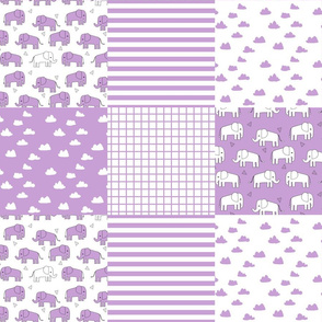 elephant quilt // purple patchwork squares crib quilt crib sheet crib blanket baby blanket nursery purple elephants