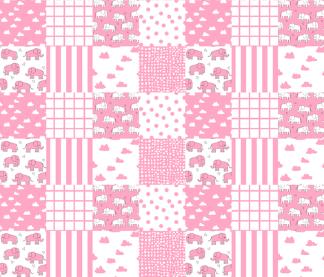 Elephant Quilt // Wholecloth Crib Quilt Cheater Quilt Crib Quilt Crib  Blanket Pink Elephant Girl